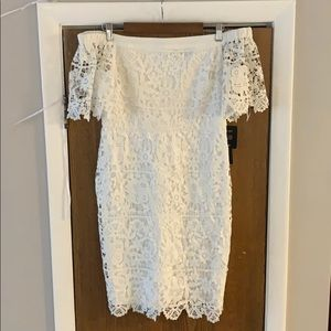 White off-shoulder lace mini dress